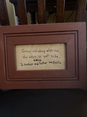 Grow Old Along With Me Sampler Under Glass Red Shabby Frame
