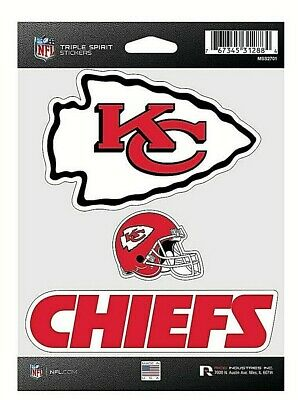 Kansas City Chiefs NFL Triple Spirit Stickers  Decals  3 Pack Free Shipping