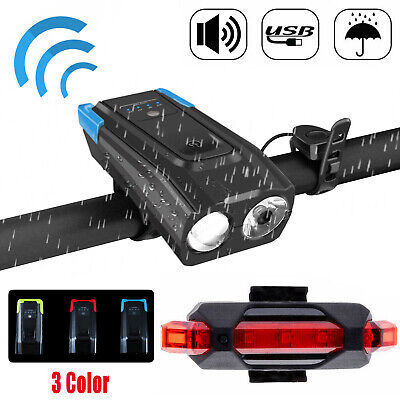 USB Rechargeable LED Bicycle Headlight Bike Head Light Front Lamp Cycling wHorn