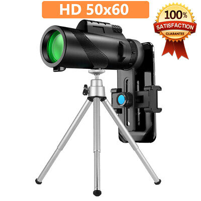 50X60 Zoom Optical HD Lens Monocular Telescope - Tripod - Clip for Cell Phone