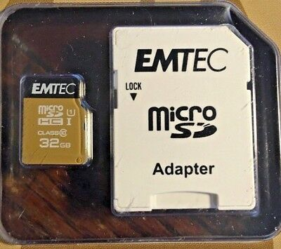 EMTEC 32GBGo MICRO SD HC I with ADAPTER - Class 10  Still Factory Sealed