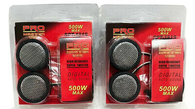 2 Pair 1 Inch Car Tweeters 1000W Silver Super High Frequency Micro Dome Piezo