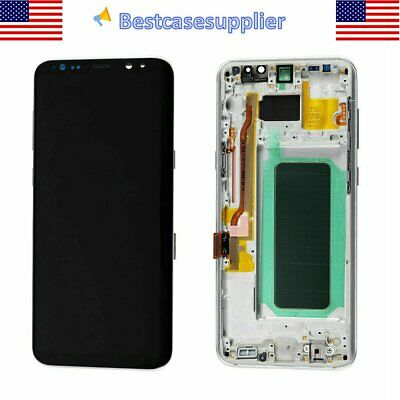 Silver OEM LCD Display Touch Screen Digitizer Frame For Samsung S8- G960U G960F