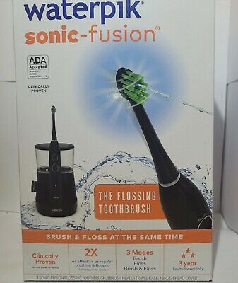 Waterpik Sonic-Fusion Flossing Toothbrush w 3 Modes - Black- BRAND NEW
