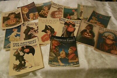 Set of 16 LARGE Vintage Halloween Magazine Cover Images 1900s to 1940s