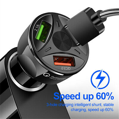 4 Port USB Fast Car Charger QC 3-0 For Samsung iPhone  Android Phone Tablet
