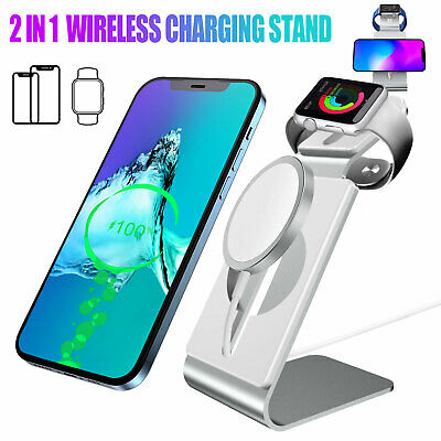 2 in 1 Phone Charger Mount Holder Stand for Apple Watch iPhone12 Pro Max MagSafe