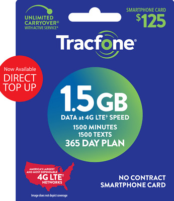 Tracfones 125 Smartphone Plan 1500 Minutes 1500 Texts1-5GB of data at 4G LTE
