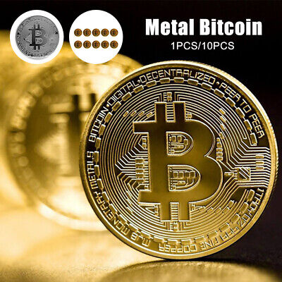 10pcs Bitcoin Physical Collectible Gold Plated Coin BTC 1 Ounce 40mm - UK STOCK