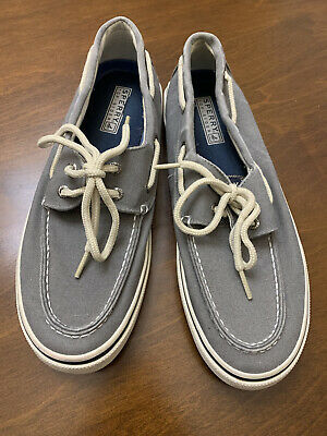 Sperry Top-Sider Mens Shoes Size 8-5 Gray Canvas Lace Up Casual Boat Shoes