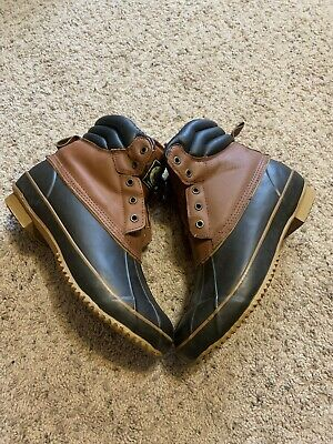 Crater Ridge Mens Leather Pike 2 Duck Boots Size 10 Brown Black Lace Up Rain