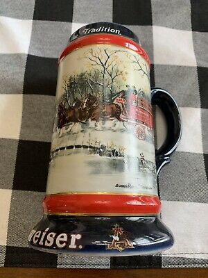 1990 Budweiser Beer Holiday Christmas Stein Mug With Clydesdales by Ceramarte