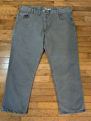 CARHARTT Men's 40 x 30 Relaxed Fit Heavy Work Pants Gray Excellent Canvas Jeans