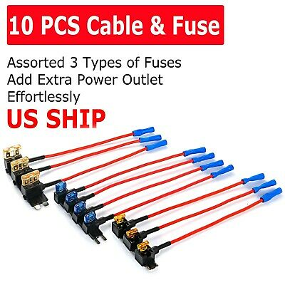 10Pack Car Add-a-Circuit Fuse Adapter w Standard - Mini TAP Blade Fuse Holder