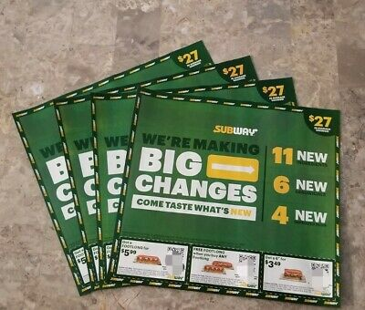 4 FOUR Sheets Subway Sandwich Coupons 108- Value 56 Coupons Exp- 9-3-2021