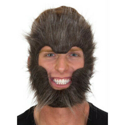 Werewolf Face Scary Hairy Gray Wolf Beast Monster Adult Halloween Costume Mask