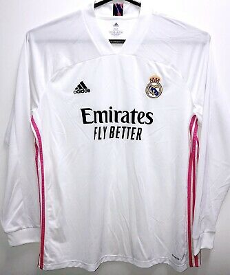 Adidas Real Madrid 2021 Home White Soccer Jersey Mens Size 2XL Long Sleeve