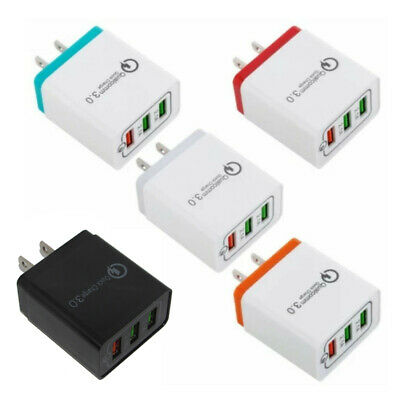 3 Port USB Home Wall Fast Charger Adapter for Samsung iPhone Android Cell Phone