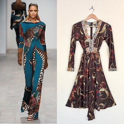 ISSA LONDON Feather Animal Print Brown Silk Belted Wrap Dress 6 Kate Middleton