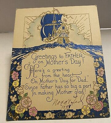 Greetings to Father on Mothers Day Postcard
