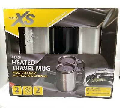 Auto XS 12V Electric Heated Travel Mugs Stainless Steel Coffee Tea Cup Warmer 2
