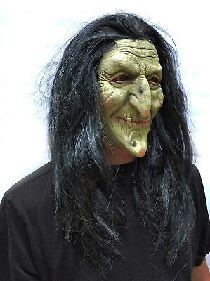 Halloween Witch Mask Scary Realistic Cosplay Latex Old Costume Mask with Hair