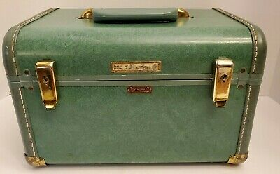 VTG Towncraft Travel Suitcase Train Makeup Cosmetic Case Mirror Blue See Photos