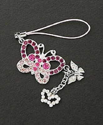 Cell Phone Charm Silver Dangle Crystal Butterfly Free Shipping Christmas Gifts