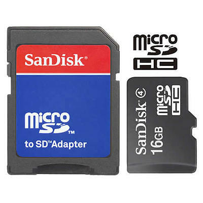 SanDisk 16GB MicroSD Micro SDHC TF Flash Class 4 Memory Card 16G with SD Adapter