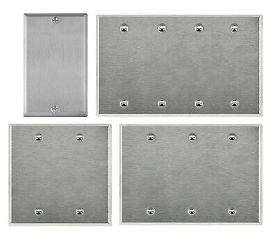 Brushed Stainless Steel Blank Outlet Cover Switch Wall Plates 1 2 3 4 Gang Metal