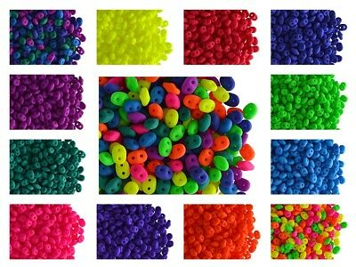 CHOOSE COLOR 10g 2-5x5 2-hole SuperDuo NEON Seed Beads Czech Glass