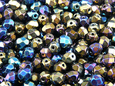 50pcs 6mm Fire Polished Round Beads Iris Metal Rainbow Czech Glass 6FP006