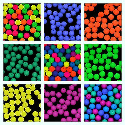 CHOOSE COLOR 30pcs 8mm NEON Round Beads UV-Active Czech Pressed Glass
