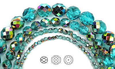 Czech Glass Fire Polished Round Faceted Beads blue Aqua Vitrail coated 16strand