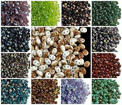 CHOOSE COLOR 20g 2-5x5mm 2-hole SuperDuo Seed Beads Czech Glass