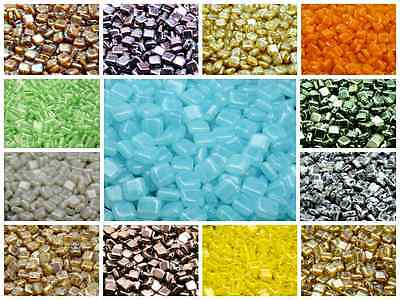 CHOOSE COLOR 40pcs 6x6x2-9mm 2-hole Tile Flat Square Beads Czech Pressed Glass