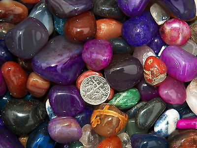 1000 Carat Lots of Size 5 Tumbled Polished Gemstones - A FREE Faceted Gemstone