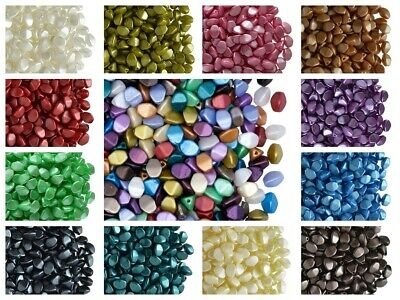 CHOOSE COLOR 50pcs 5x3-5mm Pinch Beads PASTEL COLORS Pearl Coating Czech Glass