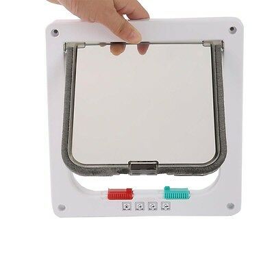 White 4-Way Medium Pet Cat Kitten Small Lockable Safe Flap Door US STOCK