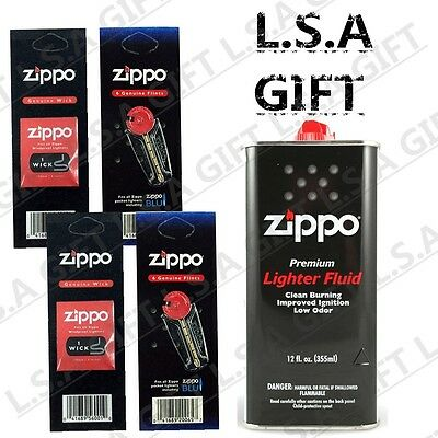 Zippo 12 oz Can Fuel Fluid and 12 Flints - 2 Wick Value Pack Combo