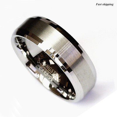 Titanium Color Two Tone Tungsten Carbide Wedding Band Mens Ring Bridal Jewelry