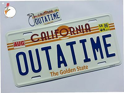 Back to the Future  Delorean  OUTATIME EMBOSSED license plate with KEY CHAIN