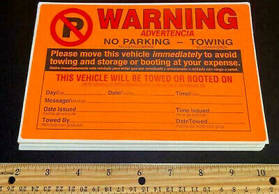 LOT OF 50 BEST DEAL VIOLATION NO ILLEGAL PARKING TOW SIGN WARNING STICKERS