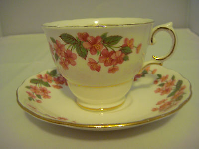 Colclough Bone China Cup and Saucer White with Pink Flowers Made in England