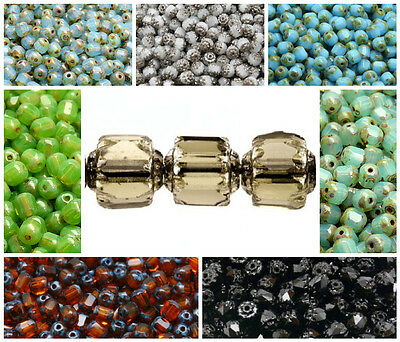 CHOOSE COLOR 50pcs 6mm Fire Polished Faceted Cathedral Beads Czech Glass
