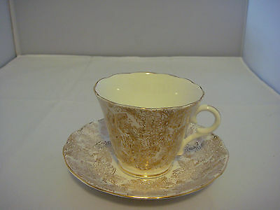 Colclough Genuine Bone China Chintz Gold and White Cup - Saucer Made in England