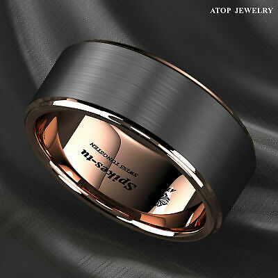 Tungsten Carbide ring rose gold black brushed Wedding Band Ring mens jewelry