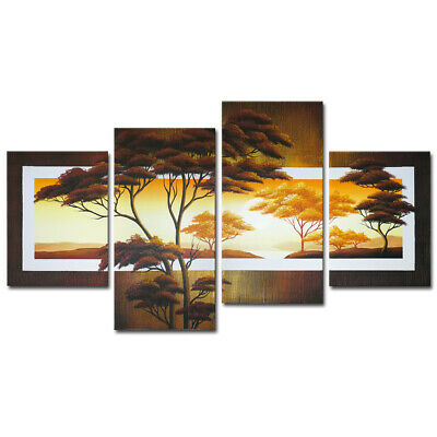 Hand Painted Canvas Oil Painting Wall Art Home Decor Landscape Sun Tree Framed