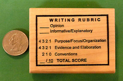 Writing Rubric Teachers Wood Mounted Rubber Stamp
