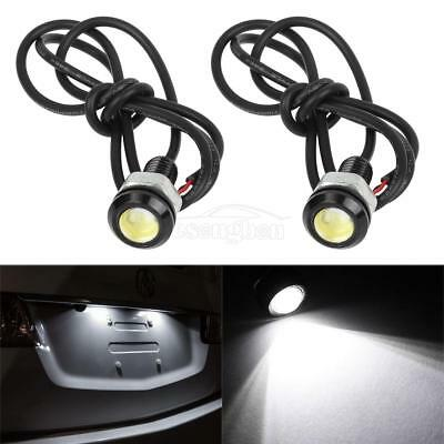 2x White Universal LED Lights Car Motorcycle Lamps Wiring Bolt-On 12V